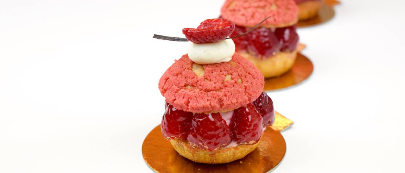 Raspberry Profiteroles